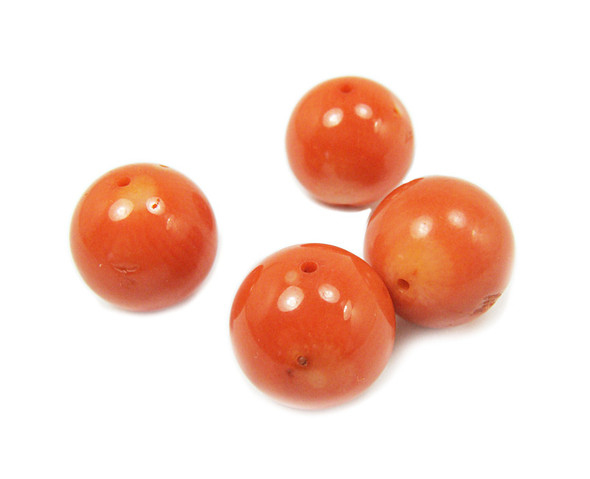 17-18mm Priced For 4 Beads Salmon-Colored Coral Round Beads
