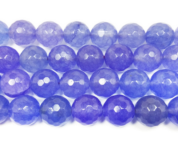 13-14mm Periwinkle purple jade faceted round beads