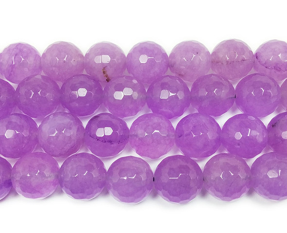 13-14mm Thistle purple jade faceted round beads