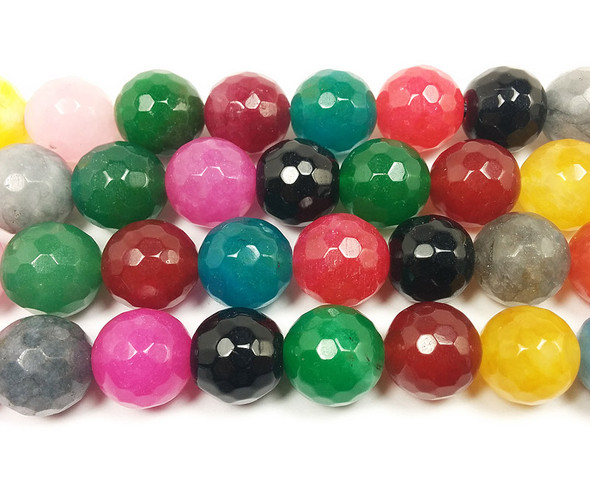 13-14mm Multicolor Jade Faceted Round Beads