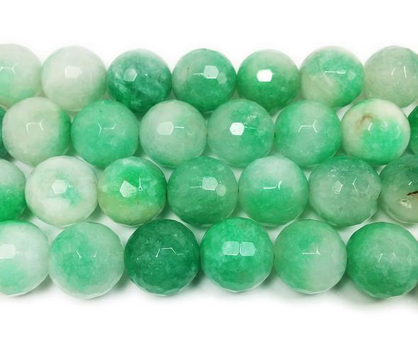 13-14mm Light green grass jade faceted round beads