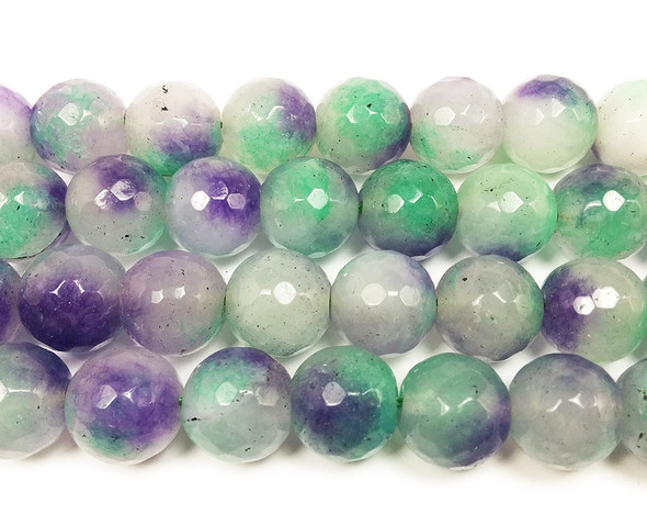 13-14mm Multicolor Purple Green And White Jade Faceted Round Beads