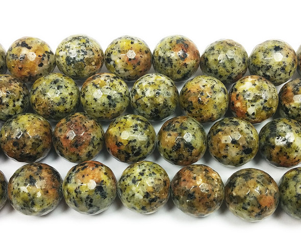 13-14mm Dark kiwi green jade faceted round beads