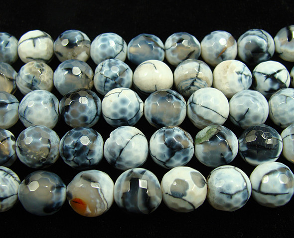 12mm Gray And White Fire Agate Faceted Round Beads