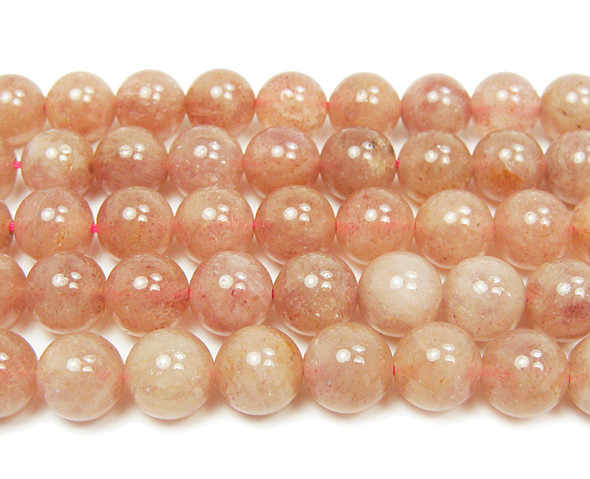 10mm  16 inches Strawberry quartz smooth round beads