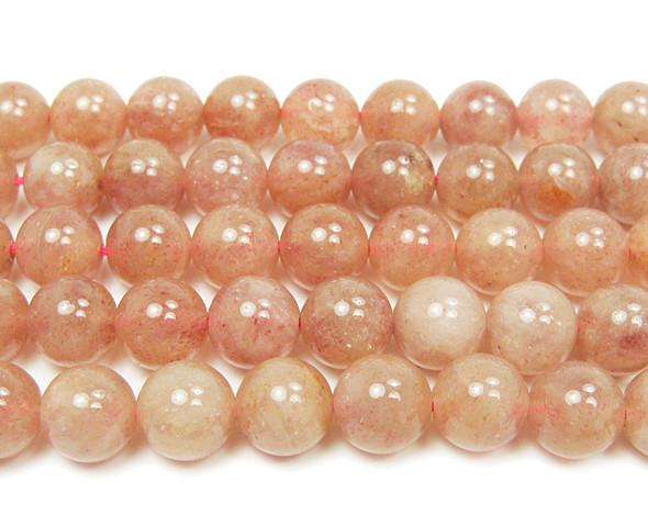 10mm 16 Inches Strawberry Quartz Smooth Round Beads