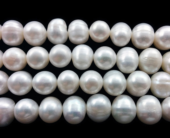 11 - 12mm Natural white smooth potato pearls