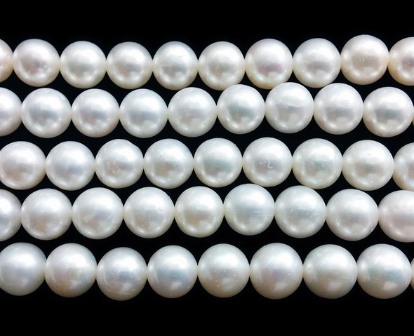 9 - 10mm Natural white polished round pearls