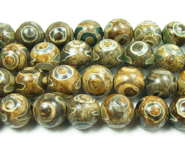 10mm Tibetan Style Tan Agate Round Beads