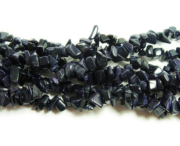 3x6mm  34 inches Blue goldstone chips