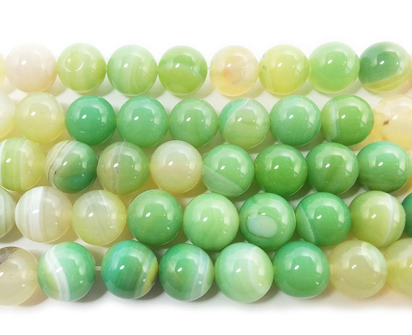 12mm  15 inch Light green striped agate round beads