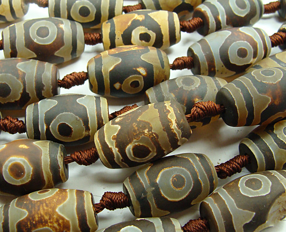 15x20mm Tibetan Style Brown Matte Agate Barrel Beads