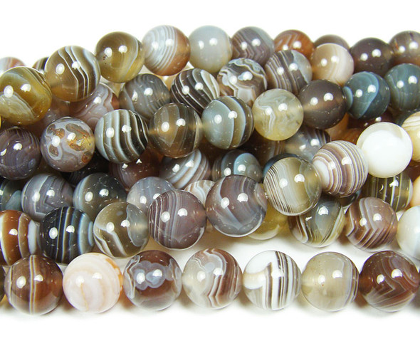 8mm High Quality Botswana Agate Round Beads