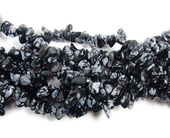 3x5mm 34 Inches Snowflake Obsidian Chips