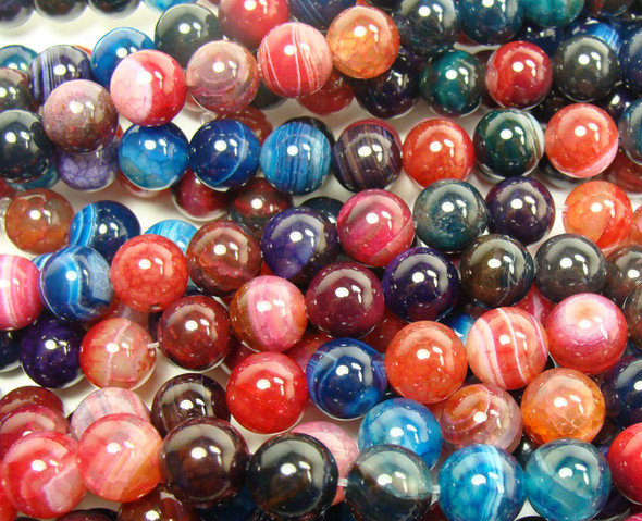 12mm 15 Inch Multi Color Striped Agate Plain Round Beads