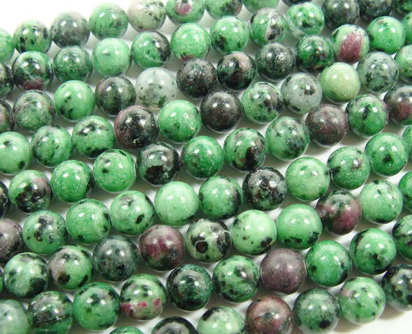 6mm 15.5 Inch Ruby Zoisite Natural Plain Round Beads