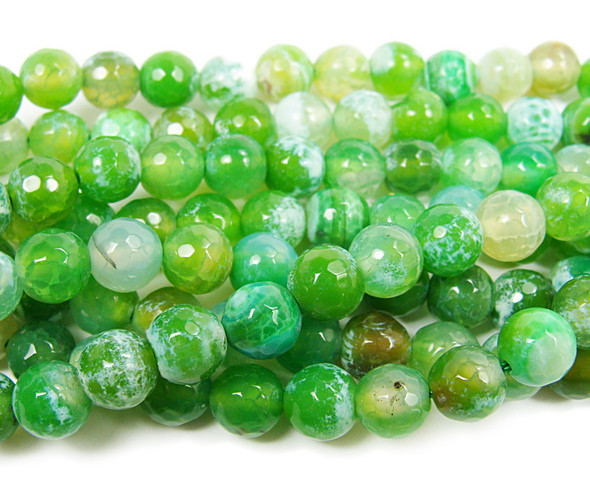 8mm Forest green fire agate faceted round beads