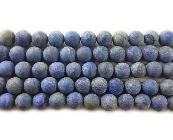 12mm 15.5 Inches Lapis Matte Round Beads
