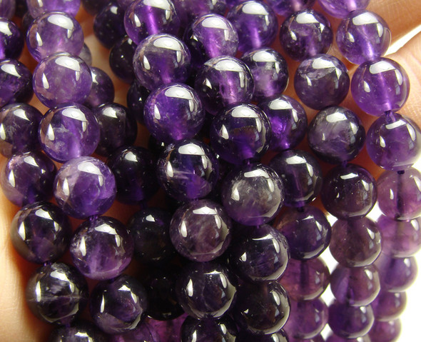 8mm High Quality Clear Purple Amethyst Round Beads