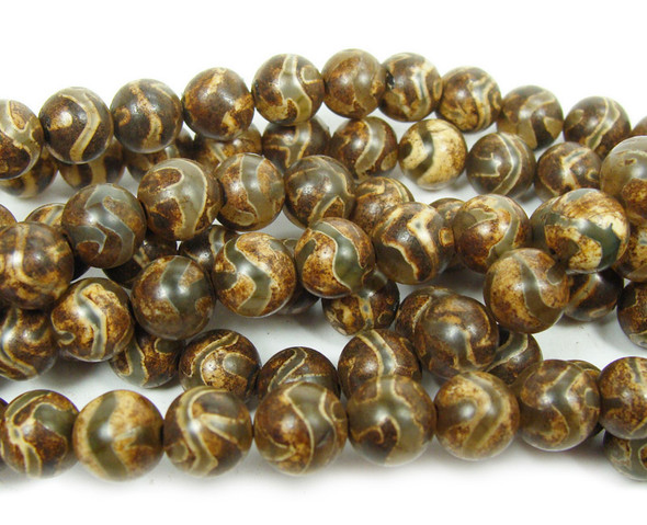 8mm Tibetan Style Agate Light Brown Curve Line Beads