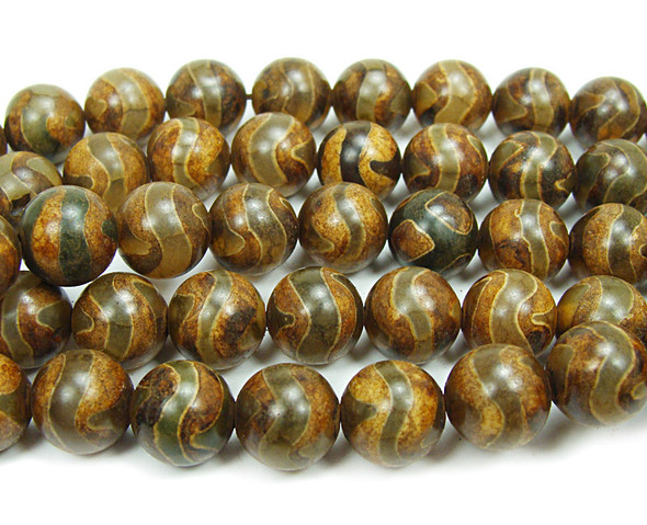 10mm Tibetan Style Agate Brown Curve Line Beads