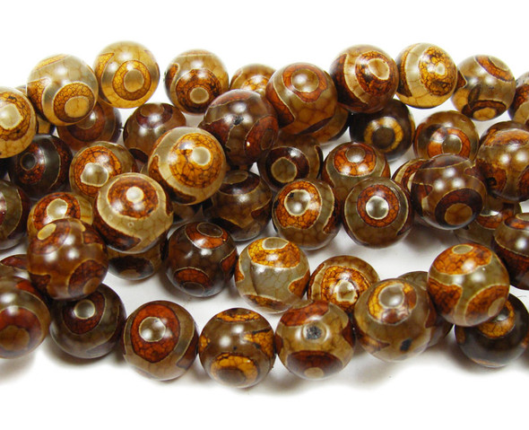 10mm Tibetan Style Smooth Agate Brown Third Eye Beads