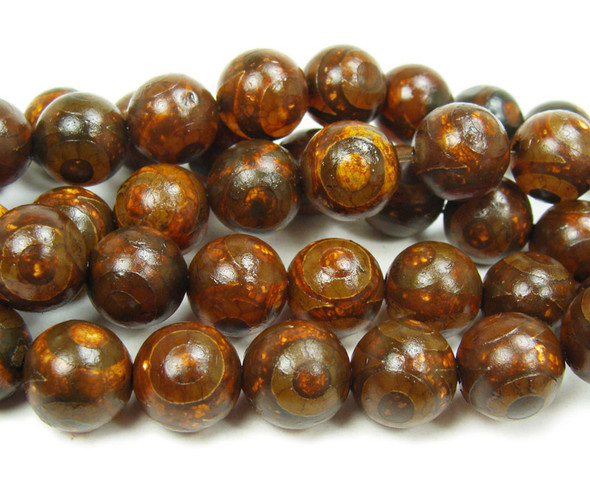12mm Tibetan Style Reddish Brown Agate Third Eye Beads