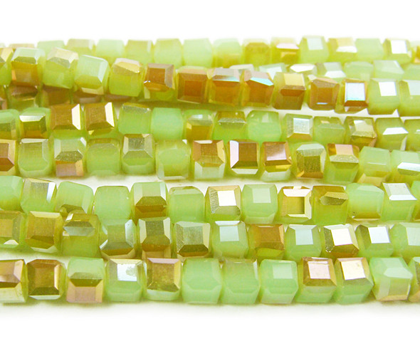 18.5 Inches 4x4mm Green Glass Cube Beads With Gold Ab Finish