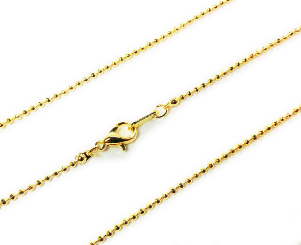 18 inches Gold plated brass bead link chain