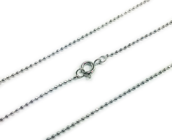 1.5mm  18 inches Platinum plated brass bead link chain