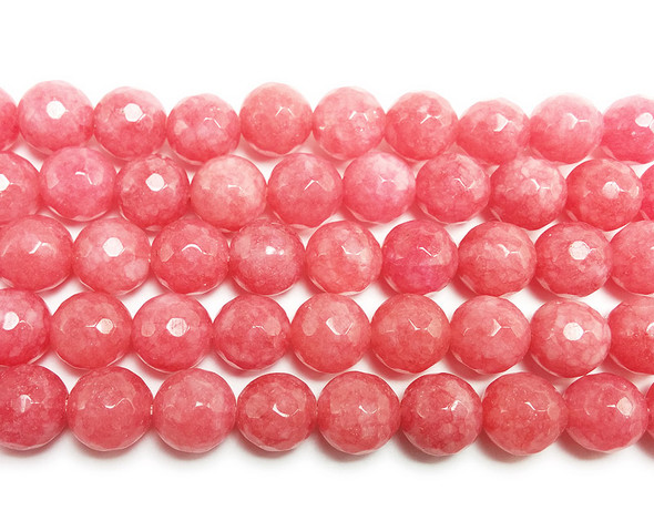 12mm Salmon pink jade faceted round beads