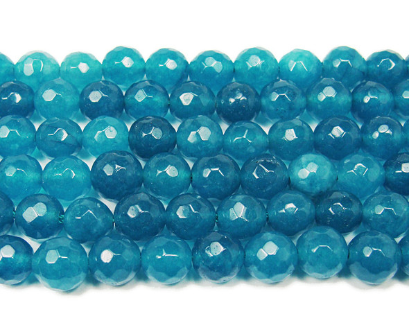 8mm Ocean blue jade faceted round beads