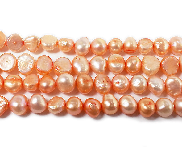 7-8mm 15 Inch Strand Light Orange Nugget Pearls
