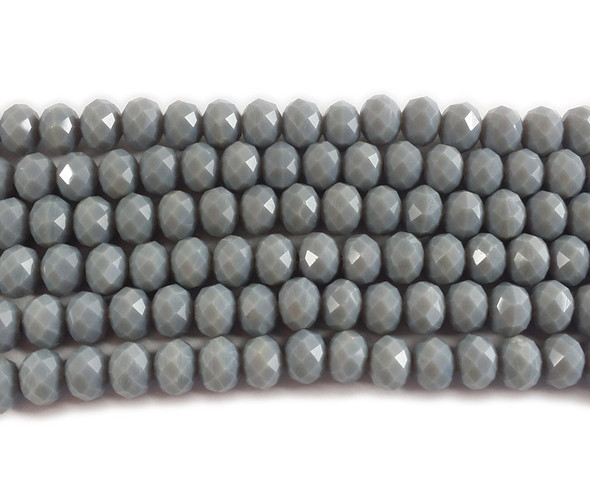 """4x6mm  97 beads  17.5"""" Cool gray glass faceted rondelle beads"""