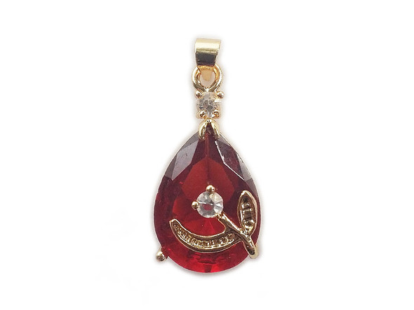 12x20mm  pack of 5 Ruby red gold framed faceted crystal teardrop pendant