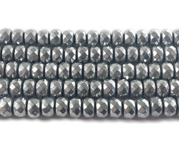 6x8mm Silver hematite faceted rondelle beads