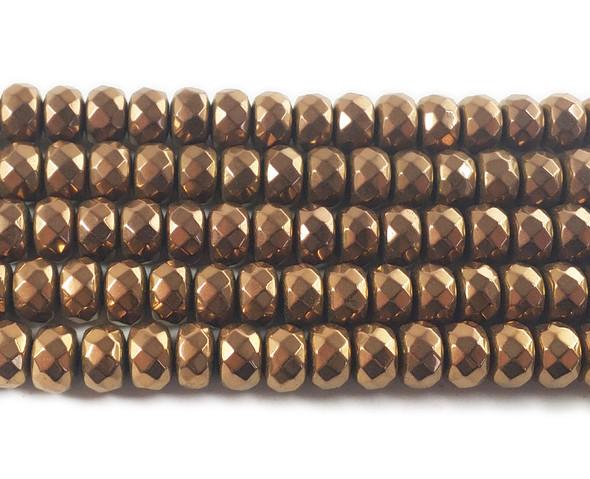 6x8mm Bronze hematite faceted rondelle beads