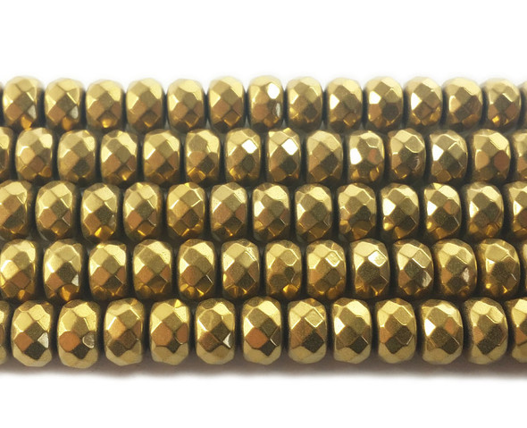 6x8mm Gold hematite faceted rondelle beads