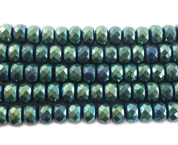 6x8mm Dark sea green hematite faceted rondelle beads