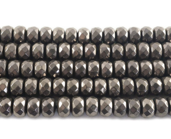 6x8mm Brown hematite faceted rondelle beads