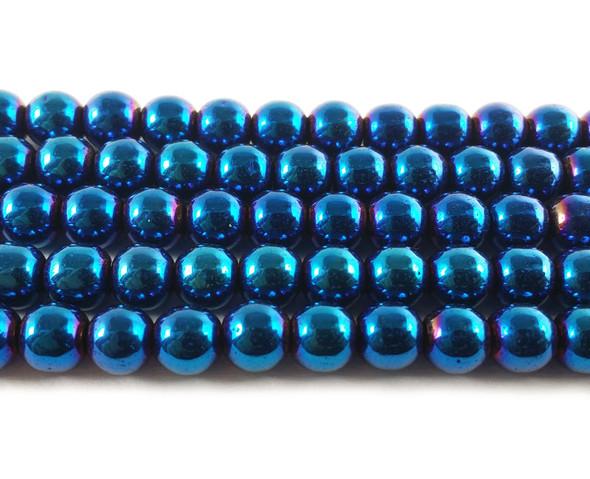 6mm Blue hematite round beads