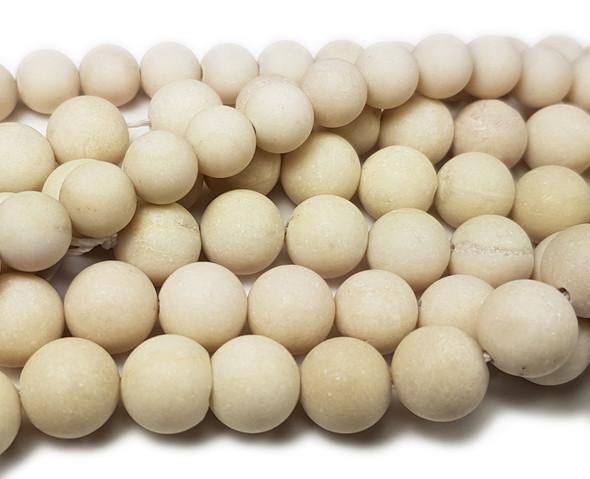 6mm White Petrified Wood Agate Matte Round Beads