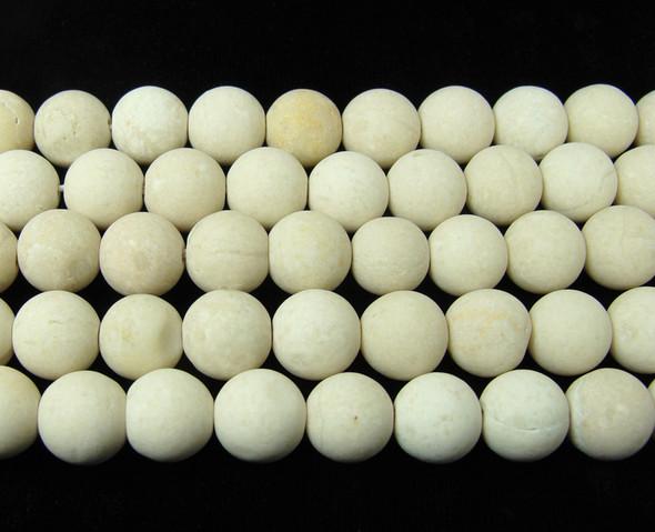 8mm White Petrified Wood Agate Matte Round Beads