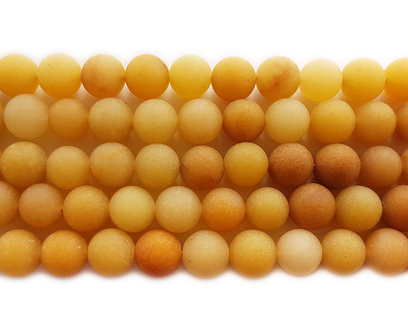 8mm Yellow jade matte round beads