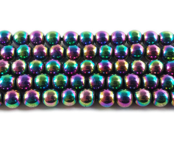 6mm Rainbow Spectrum Hematite Round Beads