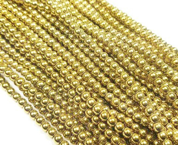 6mm Light gold hematite round beads