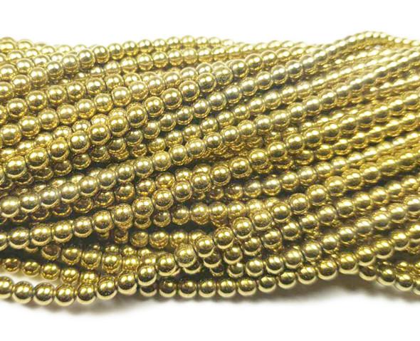 4mm Light gold hematite round beads