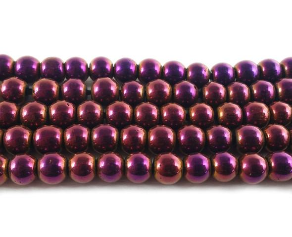 4mm Purple hematite round beads