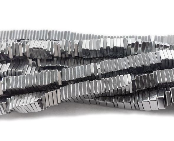 4mm Metallic silver hematite square discs