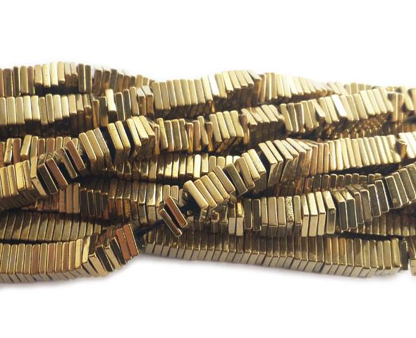 4mm Gold hematite square discs